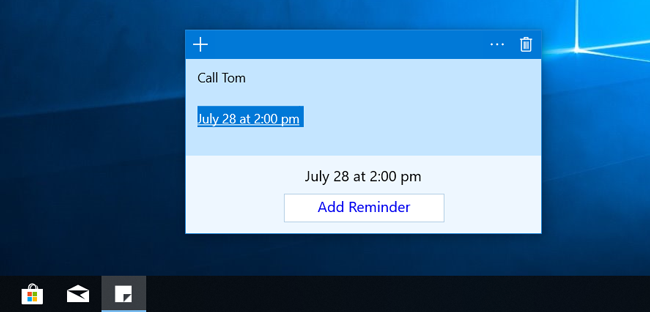 How to add reminder in Windows 10 Sticky Notes